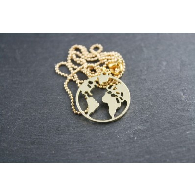 Edelstahl Kette Gold - World Map LARGE